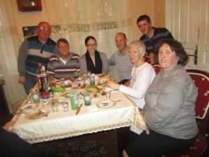 Another picture of Nodar, Tom, Tasha, David, Aliko, Suzanne and Meri.