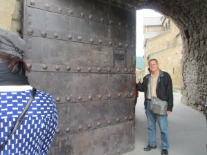 One of thesteel gates to the monastery in Meskheta.