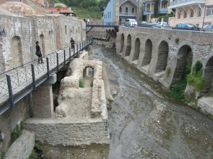 Looking down the row of Turkish baths found in the bath section of Tbilisi.