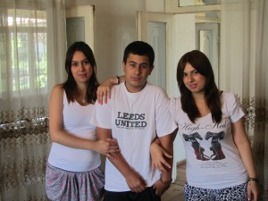 Our PSG host sister Nino on the right with her sister Sopo and brother Zura in Telavi, Georgia