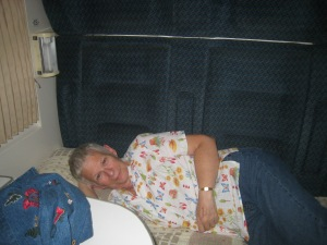 Suzanne takes the lower berth on the train ride to Tbilisi.