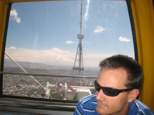 On the Ferris Wheel high above Tbilisi.