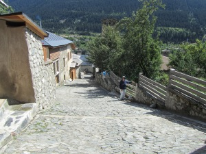 Suzanne making the long climb to our guest house in Mestia.