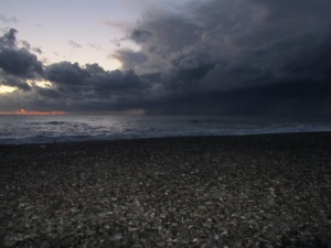 October storm clouds blocking the sunset over the Black Sea.