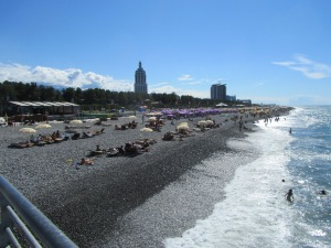 The Black Sea beach in Batumi on a beautiful, early September day.