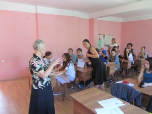 Suzanne doing a presentation on the National English Spelling Competition at a school in Kobuleti.